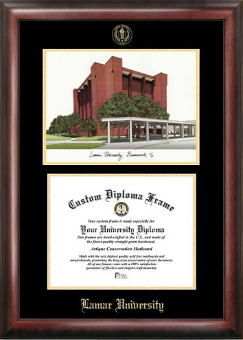 Lamar Cardinals Gold Embossed Diploma Frame with Campus Images Lithograph