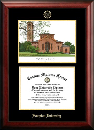 Hampton Pirates Gold Embossed Diploma Frame with Campus Images Lithograph
