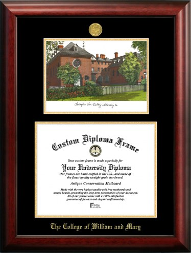 William & Mary Tribe Gold Embossed Diploma Frame with Campus Images Lithograph