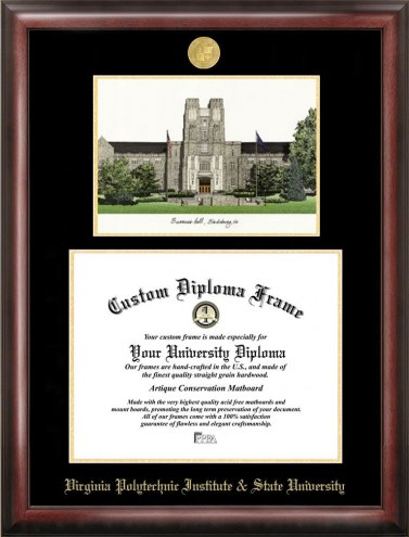 Virginia Tech Hokies Gold Embossed Diploma Frame with Campus Images Lithograph