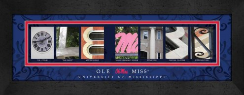 Mississippi Rebels Campus Letter Art