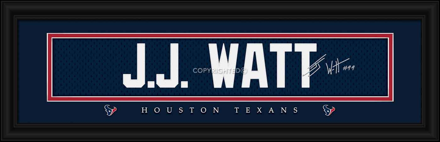 Houston Texans Watt Framed Signature Nameplate
