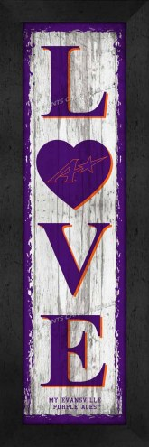 Evansville Purple Aces Love My Team Vertical Wall Decor