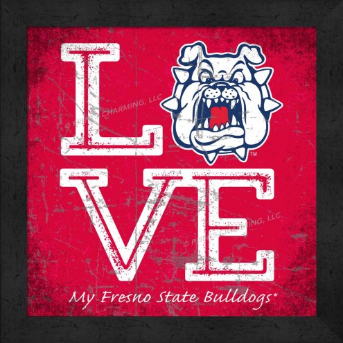 Fresno State Bulldogs Love My Team Color Wall Decor