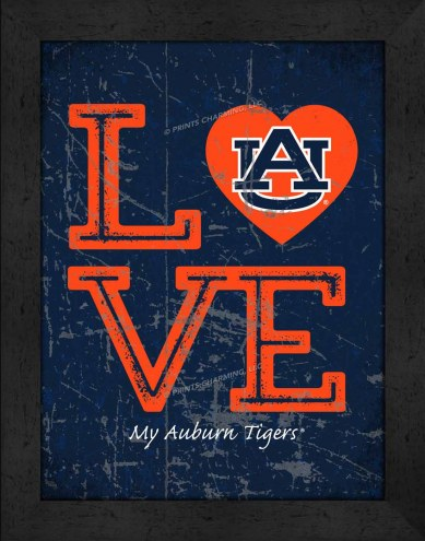 Auburn Tigers Love My Team Vertical Color Wall Decor