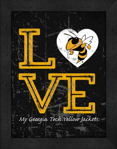 Georgia Tech Yellow Jackets Love My Team Vertical Color Wall Decor