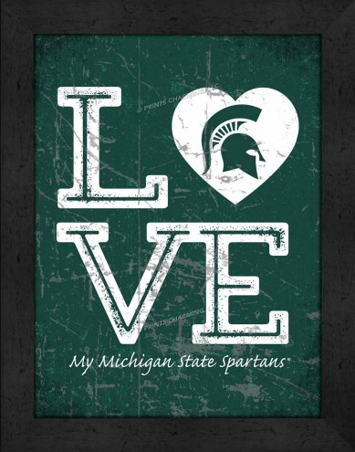 Michigan State Spartans Love My Team Vertical Color Wall Decor