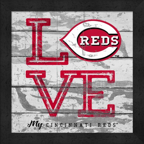 Cincinnati Reds Love My Team Square Wall Decor