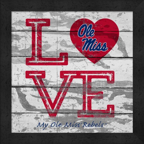 Mississippi Rebels Love My Team Square Wall Decor