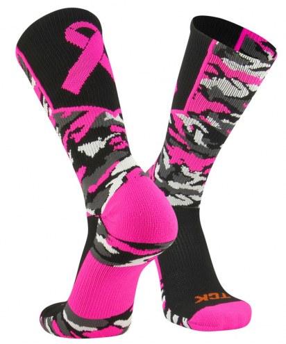 Twin City Woodland Camo Breast Cancer Awareness Crew Socks