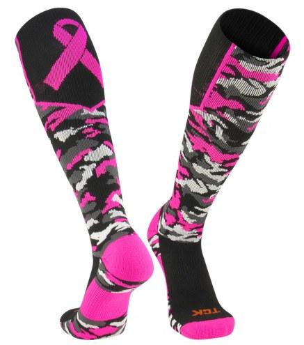 Twin City Woodland Camo Breast Cancer Awareness Knee High Socks