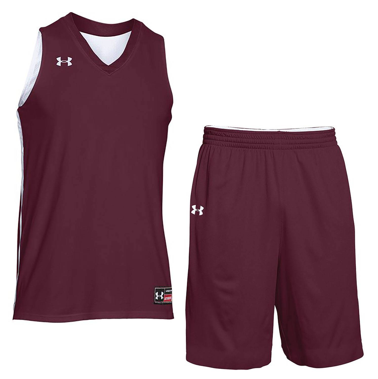 Under armour men drop step custom reversible basketball uniform jpg  1493x1500 Maroon basketball jersey shorts 115e2e5a3