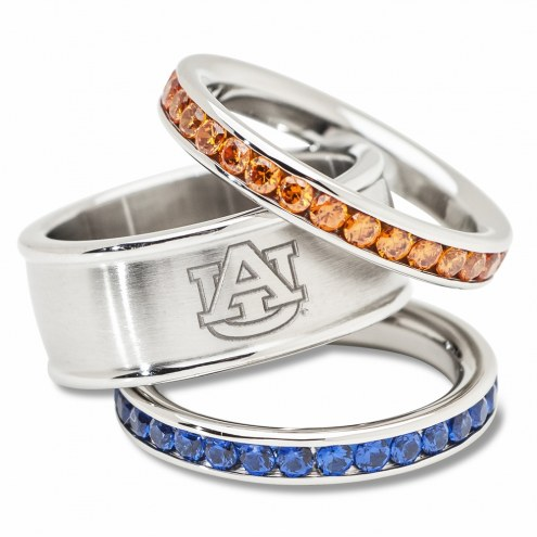 Auburn Tigers Logo Crystal Stacked Ring Set