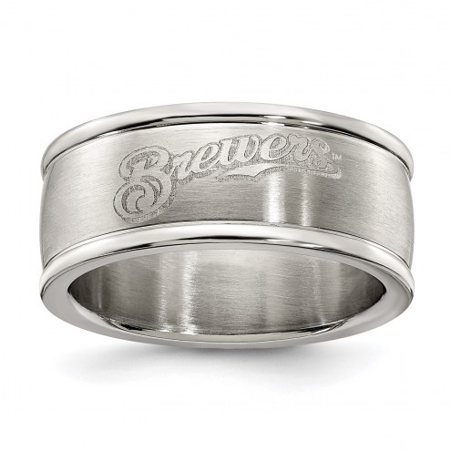 Milwaukee Brewers Stainless Steel Logo Ring