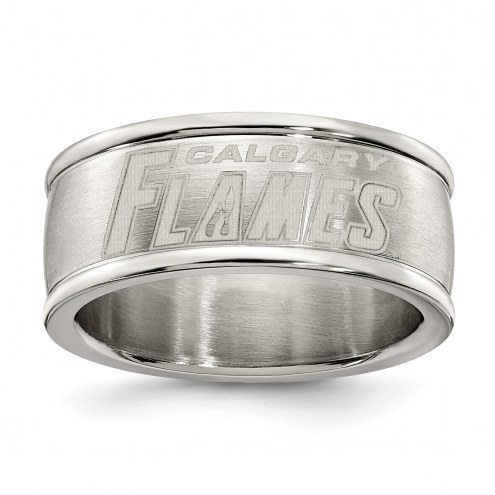Calgary Flames Stainless Steel Logo Ring