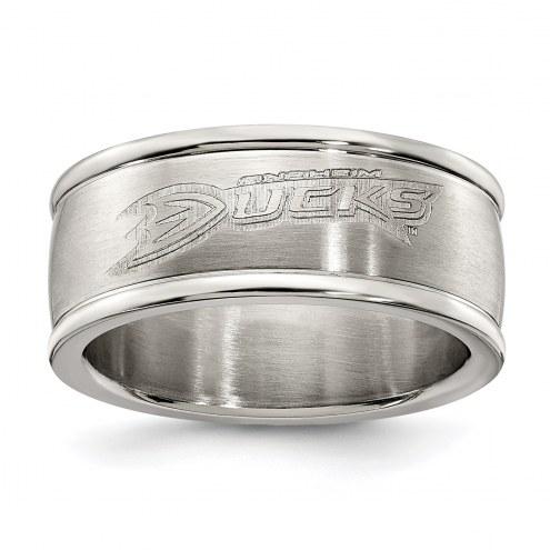 Anaheim Ducks Stainless Steel Logo Ring
