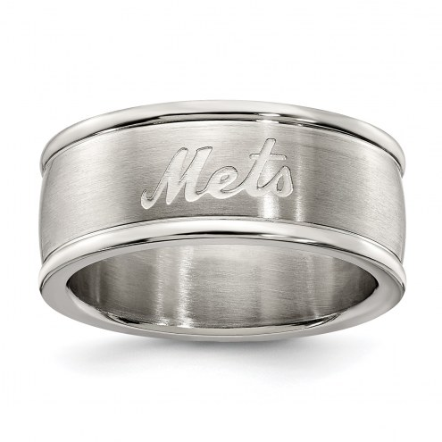 New York Mets Stainless Steel Logo Ring