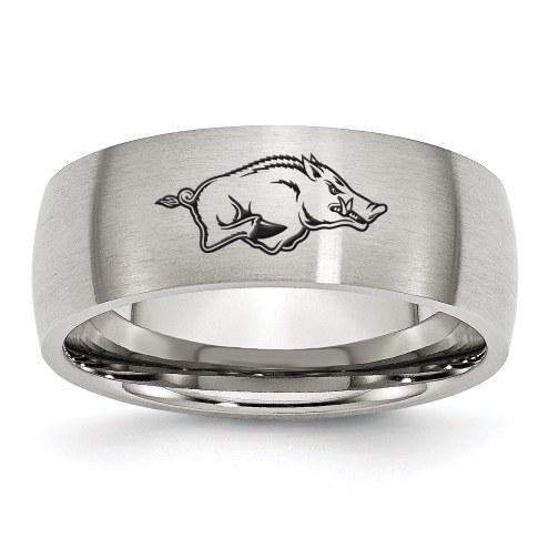 Arkansas Razorbacks Stainless Steel Laser Etch Ring
