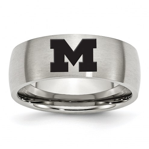 Michigan Wolverines Stainless Steel Laser Etch Ring