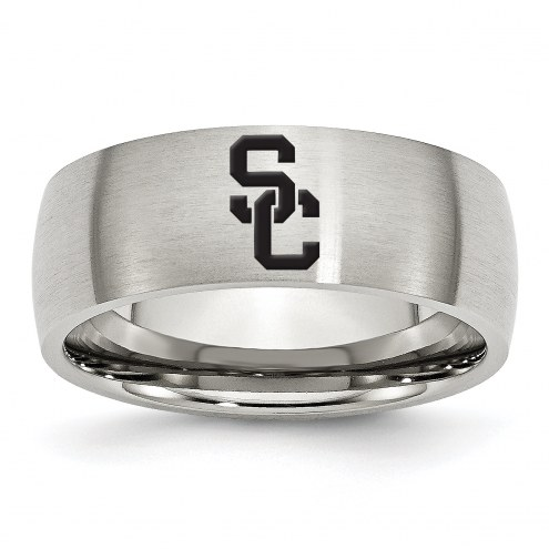 USC Trojans Stainless Steel Laser Etch Ring