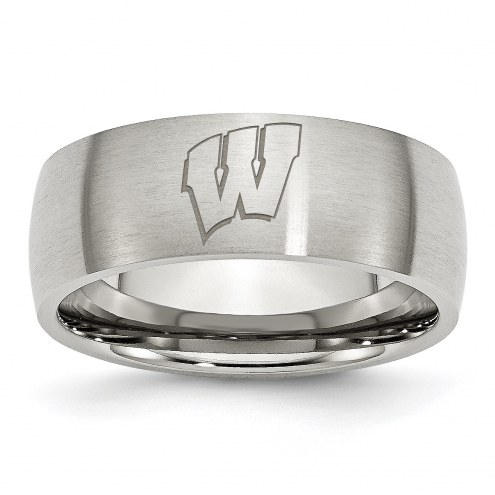 Wisconsin Badgers Stainless Steel Laser Etch Ring