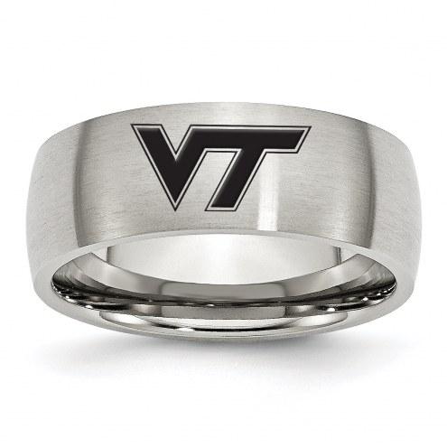 Virginia Tech Hokies Stainless Steel Laser Etch Ring