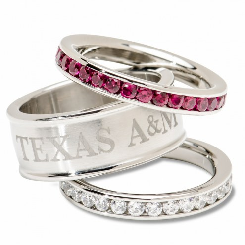 Texas A&M Aggies Logo Crystal Stacked Ring Set