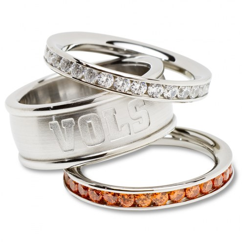 Tennessee Volunteers Logo Crystal Stacked Ring Set