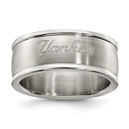 New York Yankees Stainless Steel Logo Ring