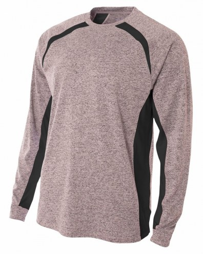 A4 Adult Color Block Performance Heather Long Sleeve Tee