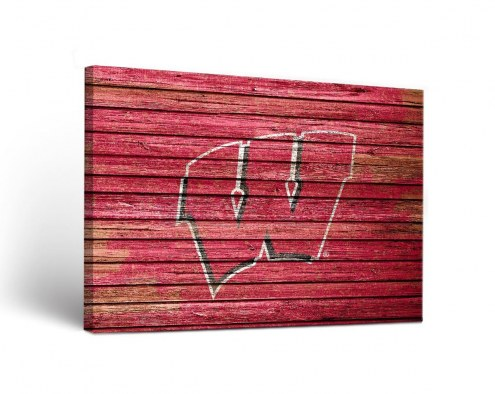Wisconsin Badgers Weathered Canvas Wall Art