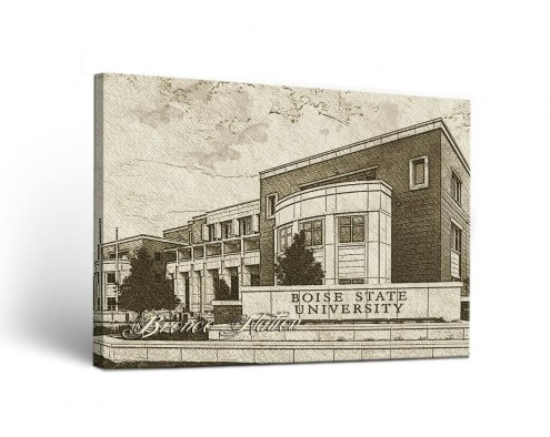 Boise State Broncos Sketch Canvas Wall Art