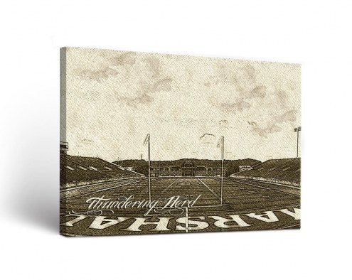 Marshall Thundering Herd Sketch Canvas Wall Art