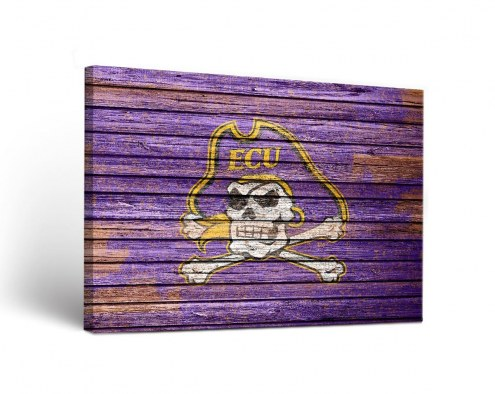 East Carolina Pirates Weathered Canvas Wall Art