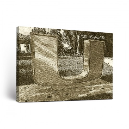 Miami Hurricanes Sketch Canvas Wall Art