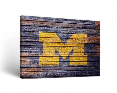 Michigan Wolverines Weathered Canvas Wall Art