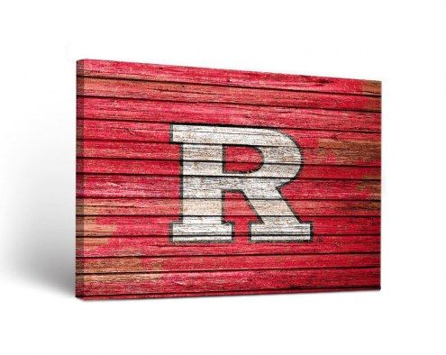 Rutgers Scarlet Knights Weathered Canvas Wall Art