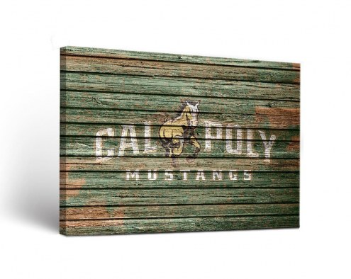 California Polytechnic State Mustangs Weathered Canvas Wall Art