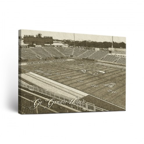 Tulane Green Wave Sketch Canvas Wall Art
