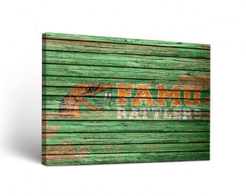 Florida A&M Rattlers Weathered Canvas Wall Art