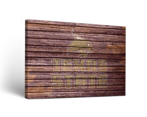Texas State Bobcats Weathered Canvas Wall Art