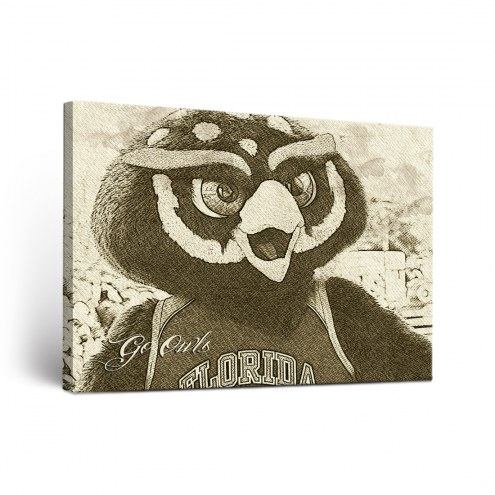 Florida Atlantic Owls Sketch Canvas Wall Art