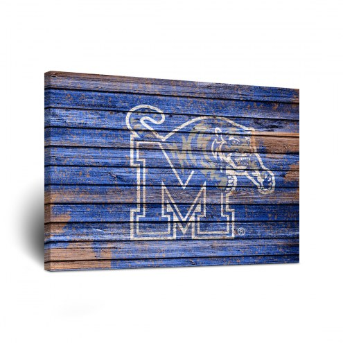 Memphis Tigers Weathered Canvas Wall Art