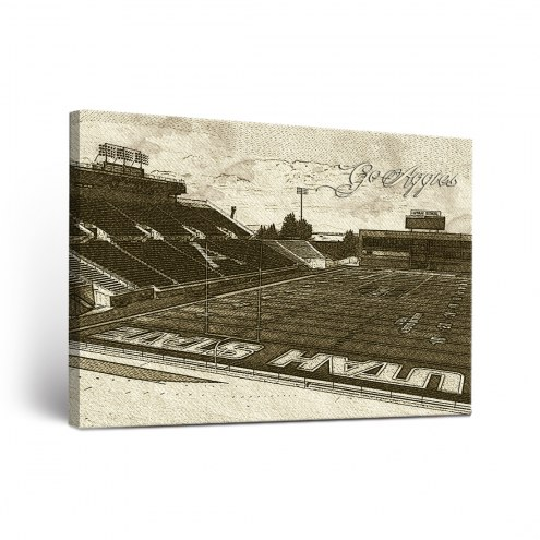 Utah State Aggies Sketch Canvas Wall Art