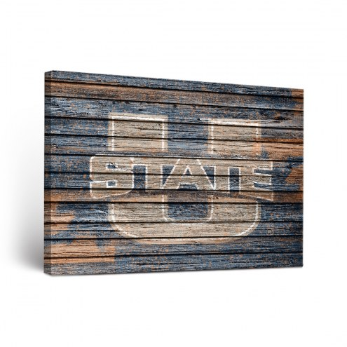Utah State Aggies Weathered Canvas Wall Art