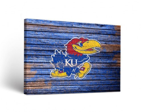 Kansas Jayhawks Weathered Canvas Wall Art