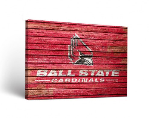 Ball State Cardinals Weathered Canvas Wall Art
