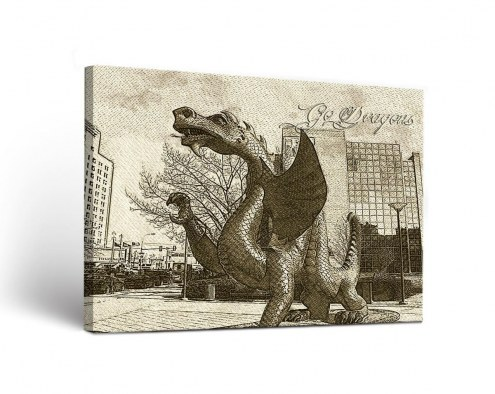 Drexel Dragons Sketch Canvas Wall Art