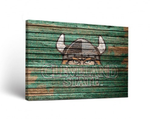 Cleveland State Vikings Weathered Canvas Wall Art