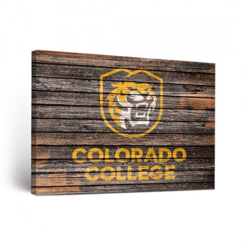 Colorado College Tigers Weathered Canvas Wall Art